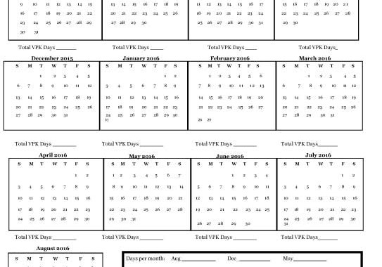 Vpk Calendar Worksheet For 20152016: Vpk Worksheets At Alzheimers-prions.com