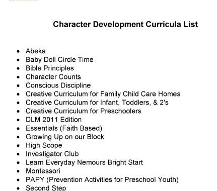 ELC Character Development Curricula List – Children's Forum