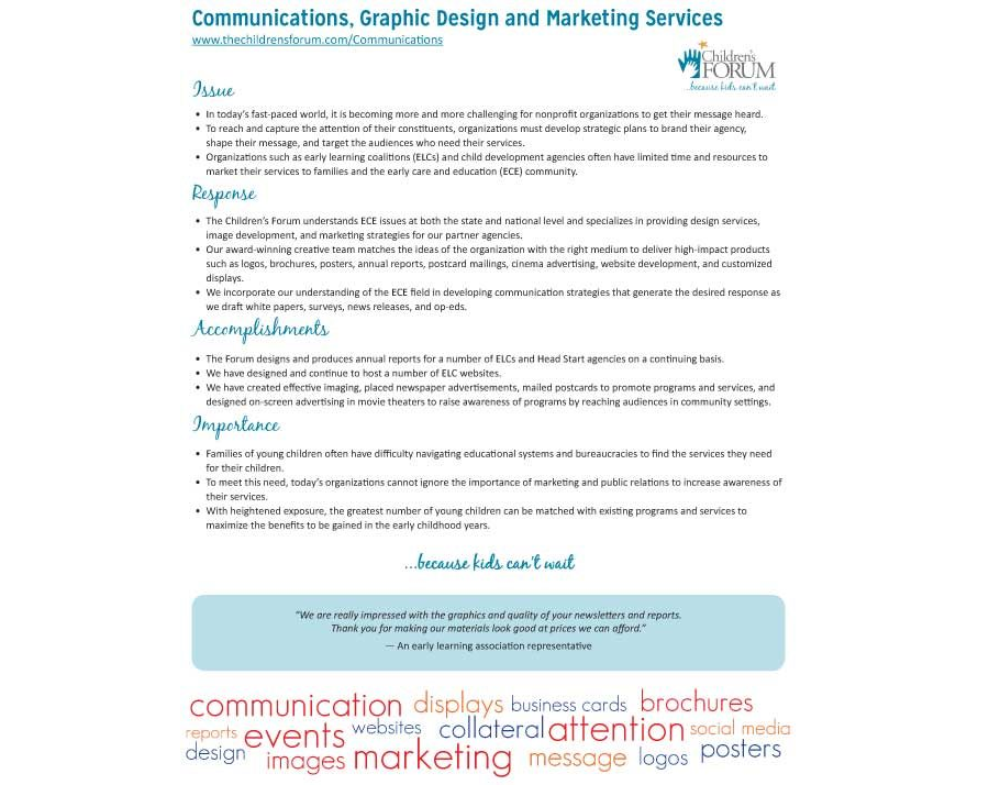 Communications, Graphic Design and Marketing Services Fact Sheet