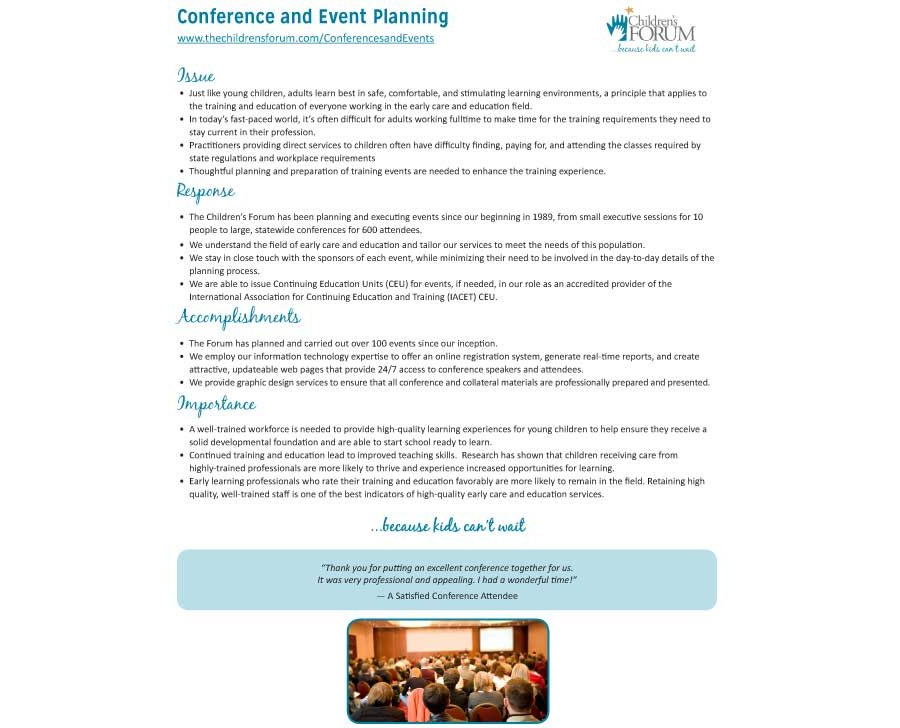 Conference and Event Planning and Management Fact Sheet