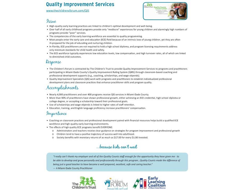 Quality Improvement Services Fact Sheet