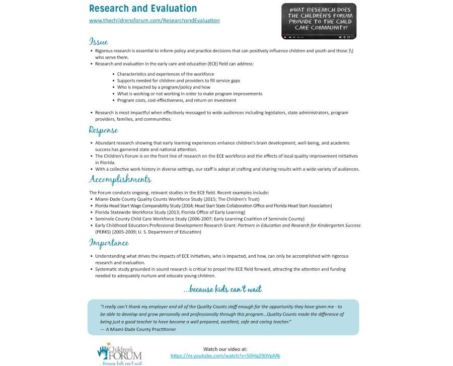 Research and Evaluation Fact Sheet