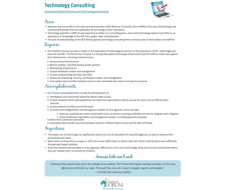 Technology Consulting Fact Sheet